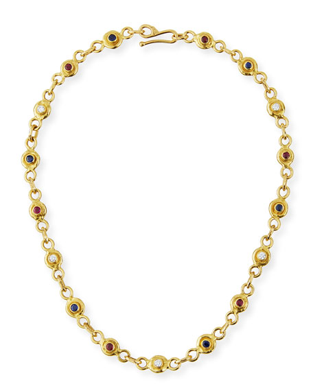 22K Gold Link Necklace with Diamonds, Sapphires & Rubies