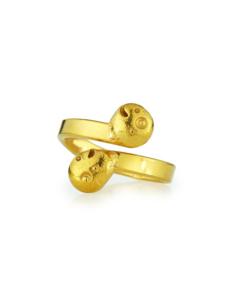 Jean Mahie 22K Gold Carved Bypass Ring