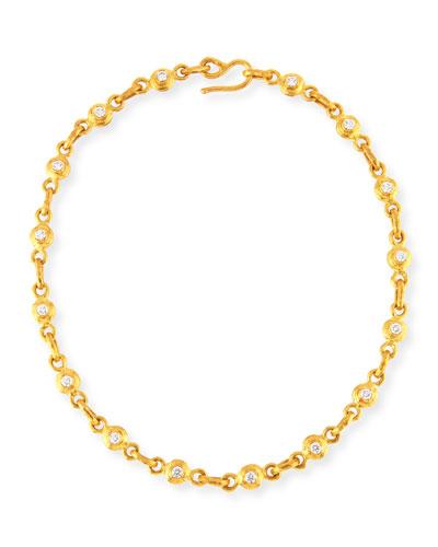 White Diamond & Pink Sapphire Link Necklace