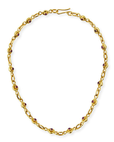 22K Gold Ruby & Sapphire Necklace, 17