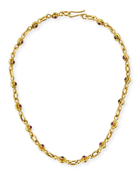 """22K Gold Ruby & Sapphire Necklace, 17"""""""