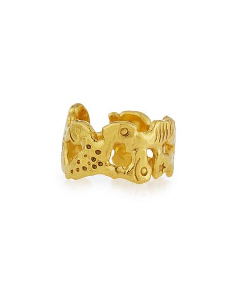 Jean Mahie Interlocking 22K Gold Ring iBCVLbv