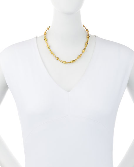 """22K Gold Link Necklace with Multicolored Sapphires, 17"""""""