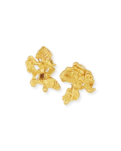Carved 22K Gold Face Earrings