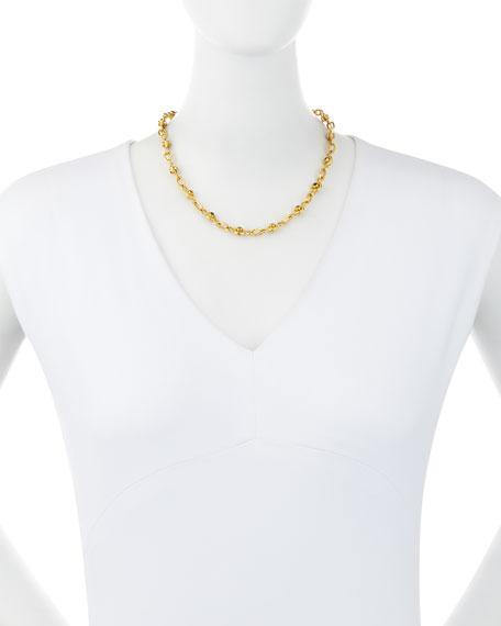 22K Gold Ruby & Emerald Station Necklace