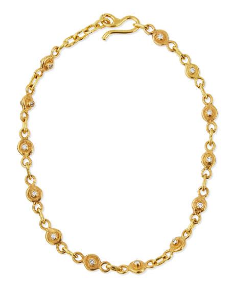 22K Gold Diamond Station Collar Necklace