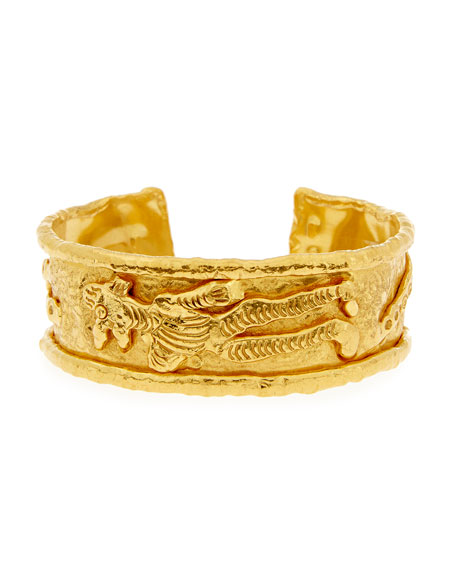 Jean Mahie 22K Gold Charming Monster Cuff Bracelet