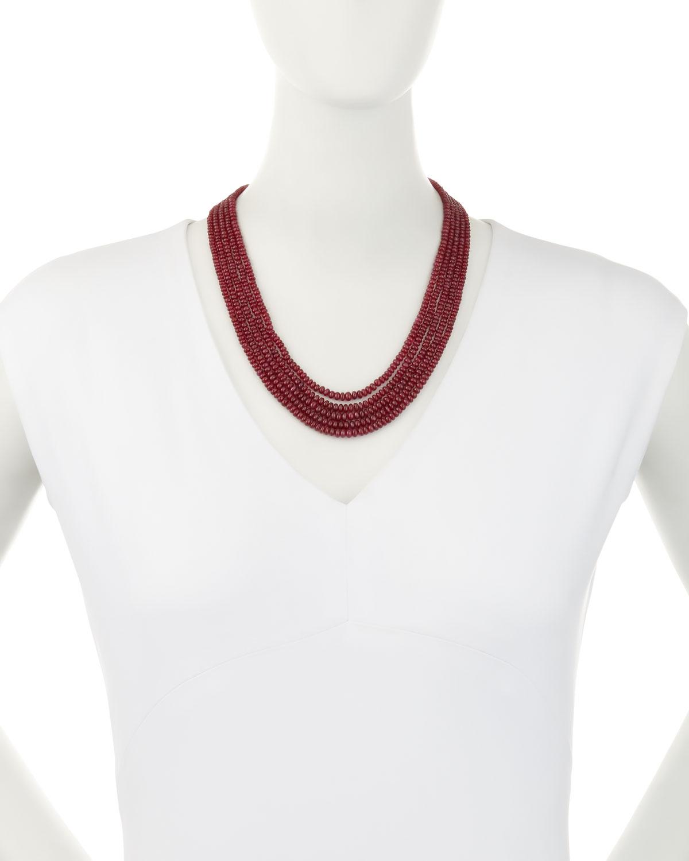 Splendid Company Five-Strand Smooth Ruby Necklace SVHNzjL6