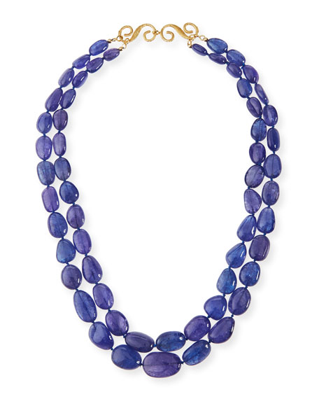 Two-Strand Smooth Tanzanite Necklace