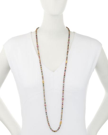 """Single-Strand Multicolor Sapphire Necklace, 41"""""""