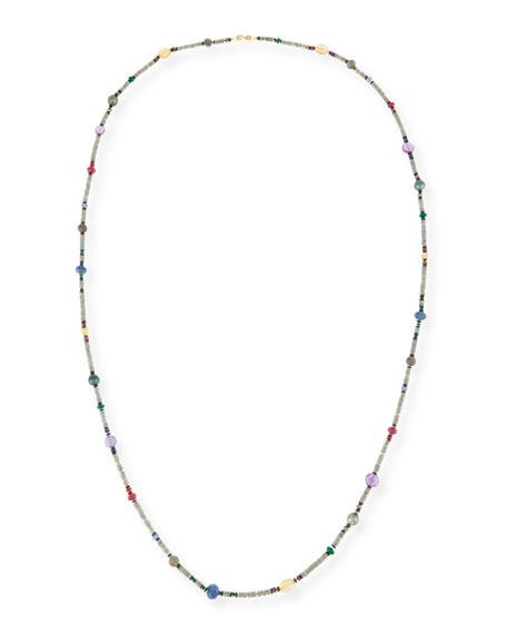 "Long Bohemian Mixed-Gem Necklace, 55""L"