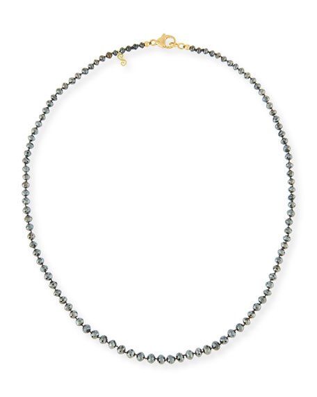 """Faceted Round Black Diamond Necklace, 18"""""""