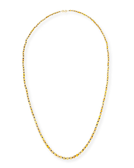 Splendid Long Ethiopian Opal & Black Spinel Necklace