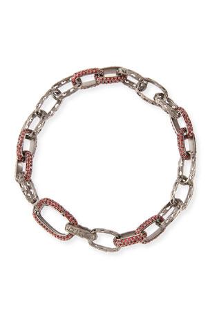 Marco Dal Maso Warrior Red Fire Sapphire Link Bracelet