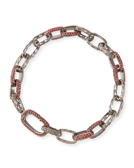 Warrior Red Fire Sapphire Link Bracelet