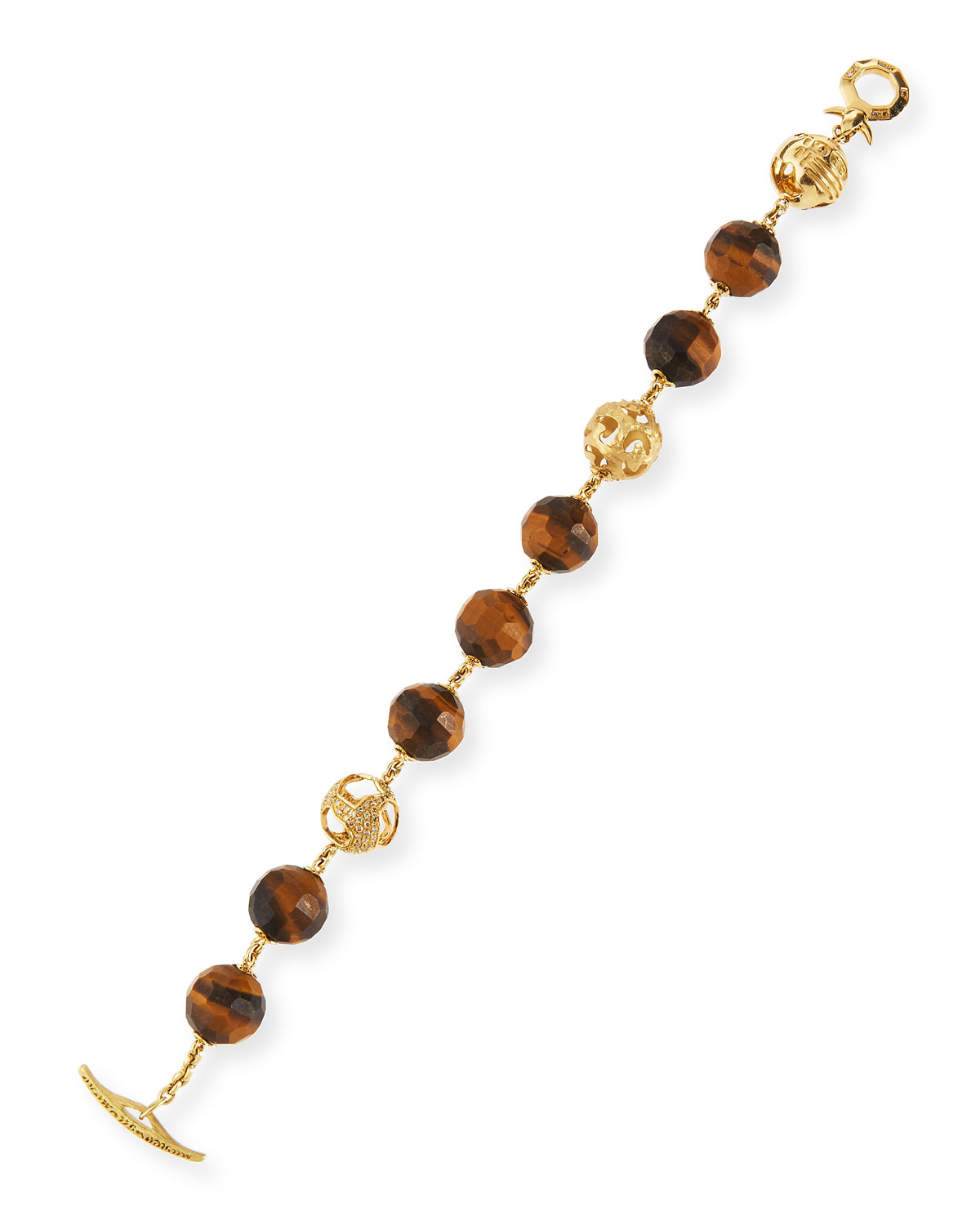 Marco Dal Maso Faceted Tigers Eye Toggle Bracelet gTO8Wz