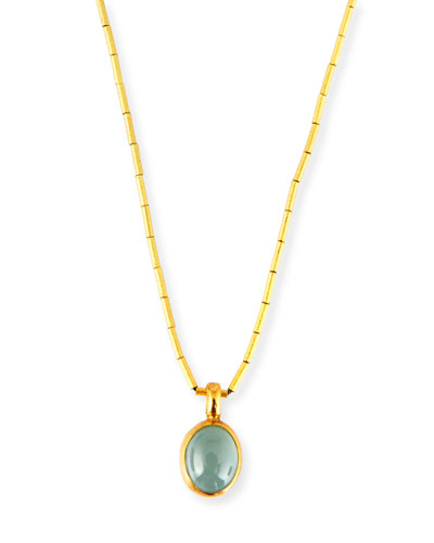 Amulet Hue Aquamarine Cabochon Pendant Necklace