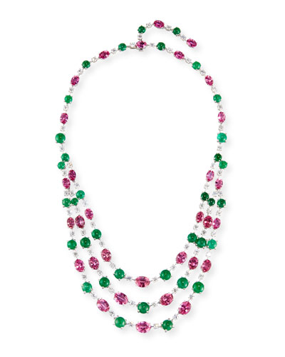 Three-Strand 18K White Gold Pink Topaz & Emerald Necklace with Diamonds