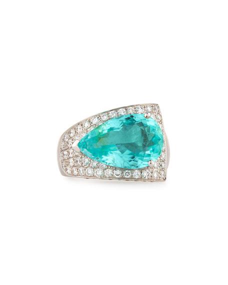 Alexander Laut 18K White Gold Pear-Cut Paraiba Ring with Diamonds, Size 7.25