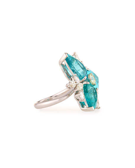 18K White Gold Pear-Cut Paraiba Ring with Diamonds, Size 7.25