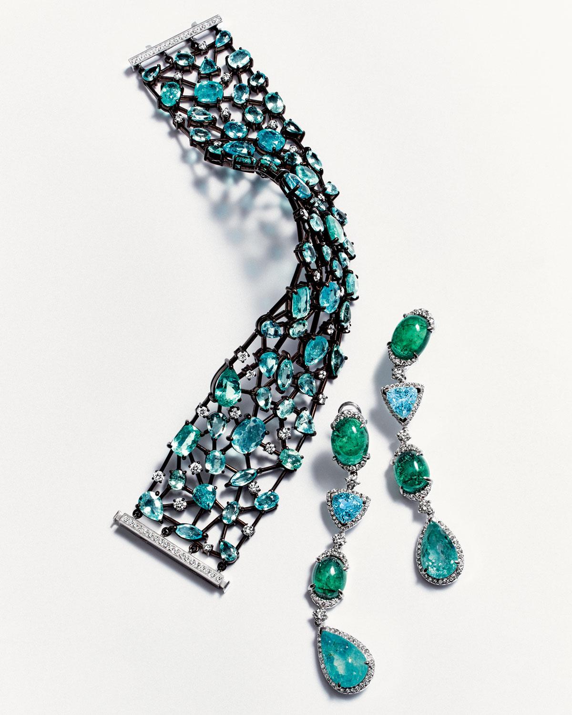 Alexander Laut 18K Brown Gold & Paraiba Bracelet with Diamonds ic611