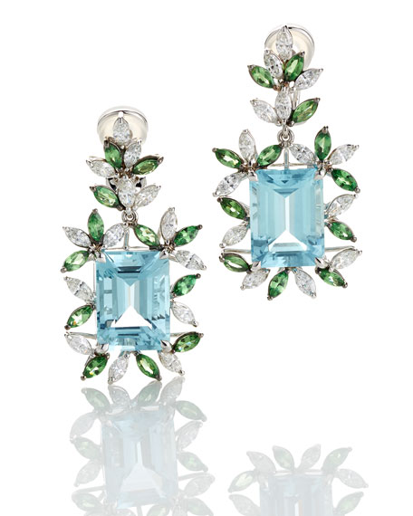 18K White Gold Tsavorite & Aquamarine Earrings with Diamonds