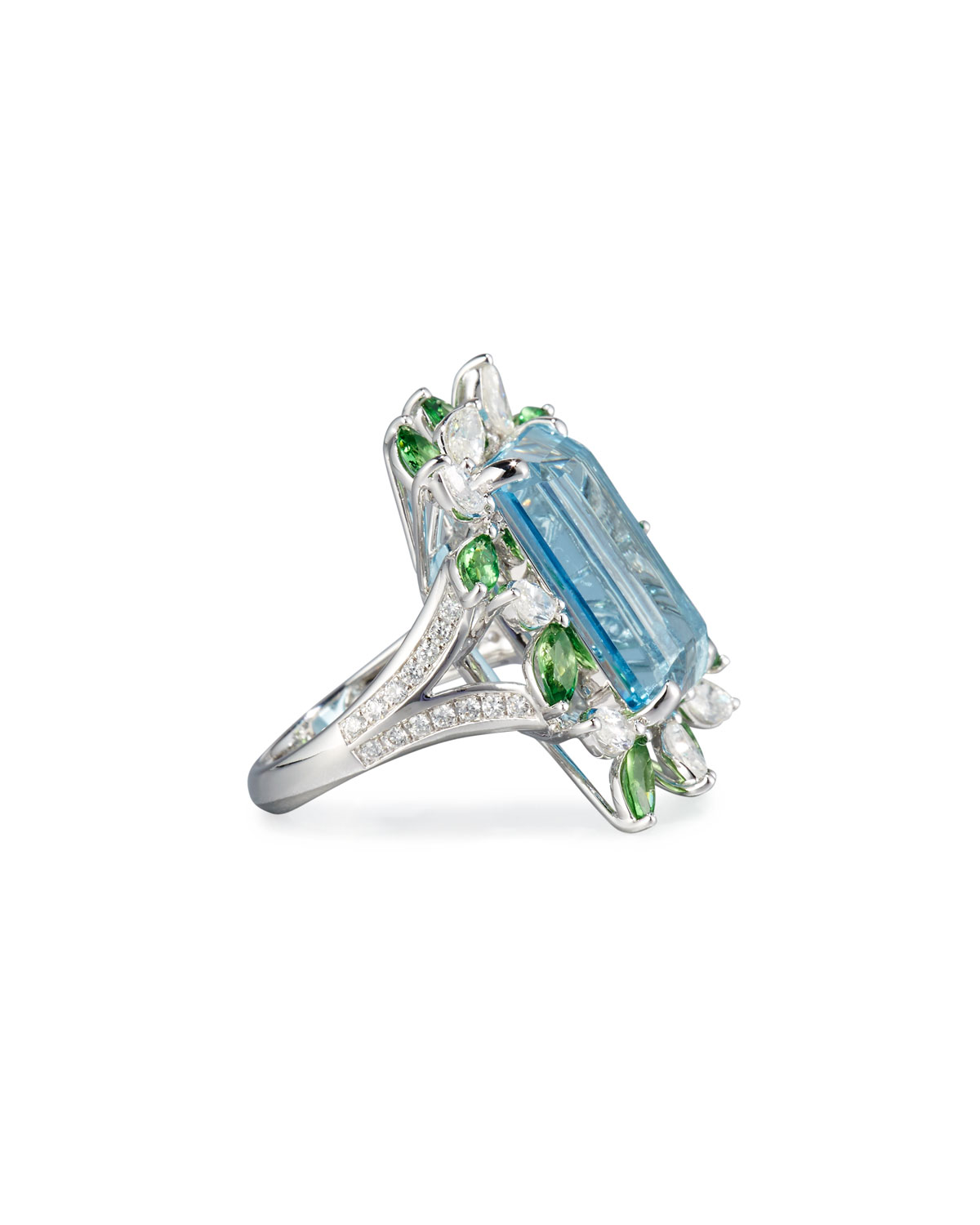 Alexander Laut Emerald-Cut Aquamarine Ring with Tsavorites & Diamonds, Size 7.25