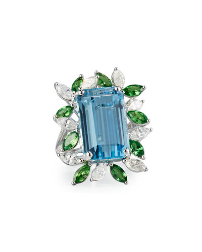 Emerald-Cut Aquamarine Ring with Tsavorites & Diamonds, Size 7.25