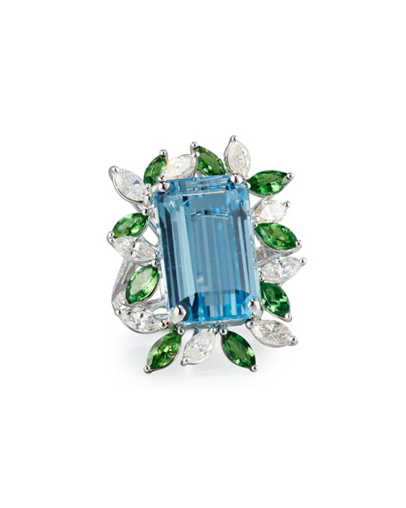 Alexander Laut Emerald-Cut Aquamarine Ring with Tsavorites &