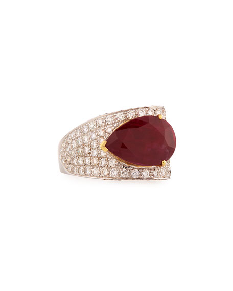 Pear-Shaped Ruby Ring with Diamonds