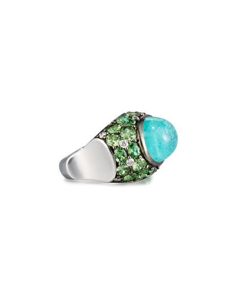 18K White Gold Paraiba Ring with Tsavorites & Diamonds