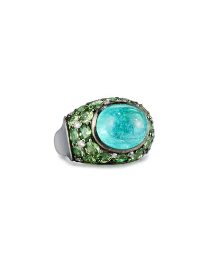 18K White Gold Paraiba Ring with Tsavorites & Diamonds