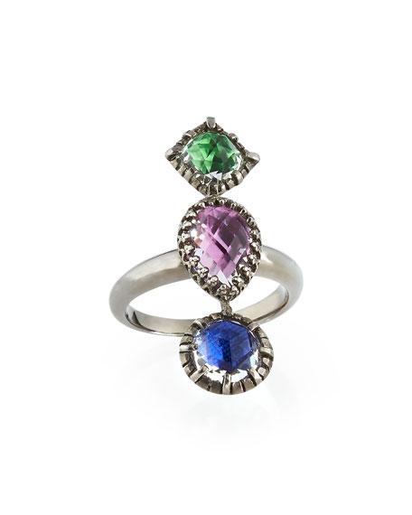 Sadie Three-Stone Ring, Crazy Quilt
