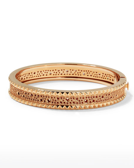 ROBERTO COIN ROCK & DIAMONDS Slim 18K Rose Gold Bangle, 1.49 tdcw