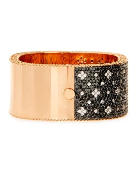 18K Rose Gold Black & White Diamond Bangle