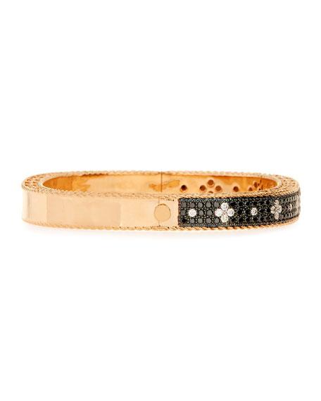 ROBERTO COIN ROCK & DIAMONDS Slim 18K Rose Gold & Black Diamond Bangle