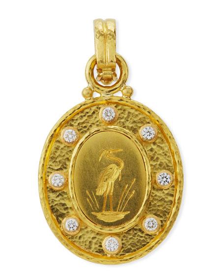 19K Gold Crane Pendant with Diamonds