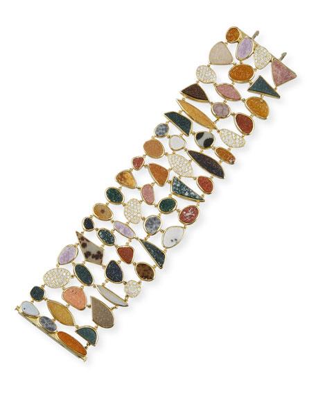 18K Natural Druzy Agate Station Bracelet with Diamonds