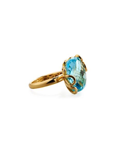 Sea Leaf 18K Gold & Blue Topaz Ring, Size 6