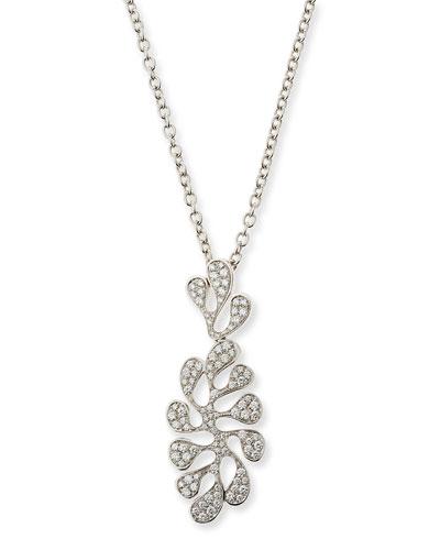 Sea Leaf 18K White Gold & Diamond Pendant Necklace
