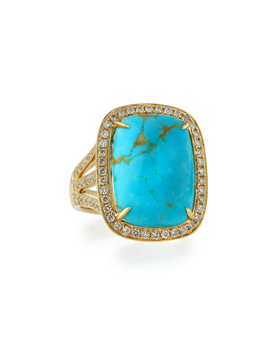 Natural Arizona Turquoise Ring with Diamonds, Size 7
