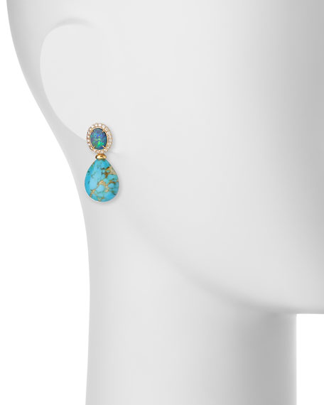 Signature Turquoise & Opal Drop Earrings with Diamonds
