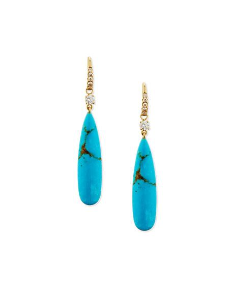 Signature Turquoise & Diamond Drop Earrings