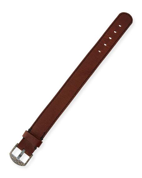 Silver, Leather & Diamond Buckle Bracelet