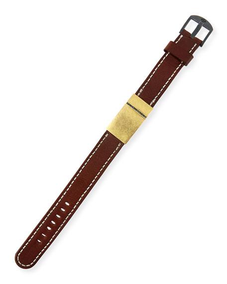 Silver, Leather & Raw Diamond Buckle Bracelet