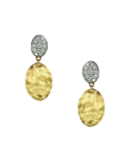 Siviglia 18K Gold & Pavé Diamond Double-Drop Earrings