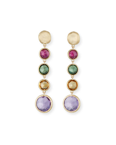 Jaipur 18K Gold Mixed Semiprecious Stone Drop Earrings