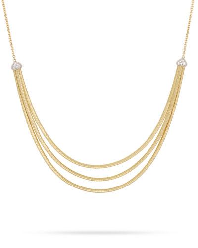 Cairo 3-Strand Bib Necklace with Diamonds