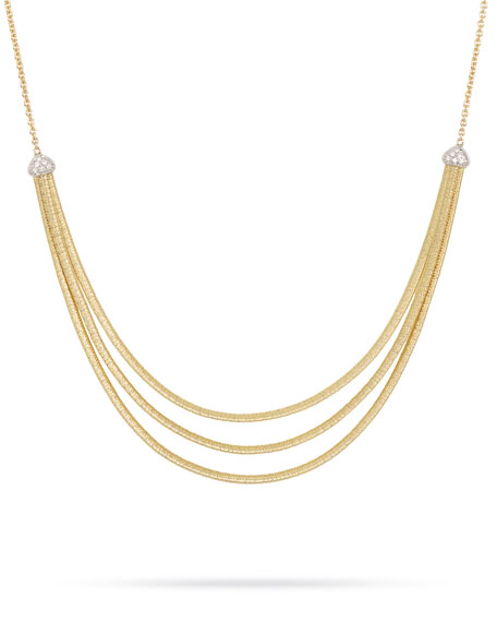 Marco Bicego Cairo 3-Strand Bib Necklace with Diamonds