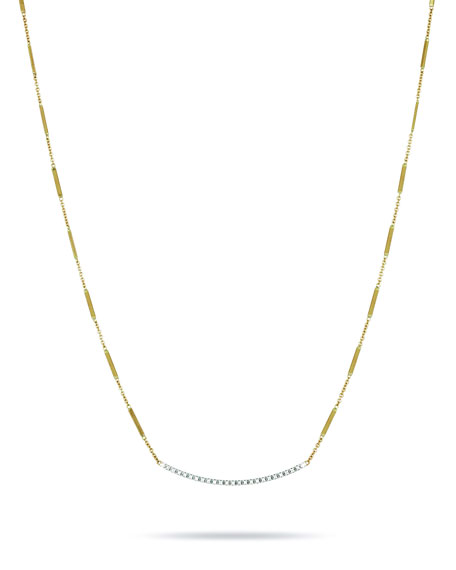 18K Hand-Engraved Gold Diamond Bar Necklace